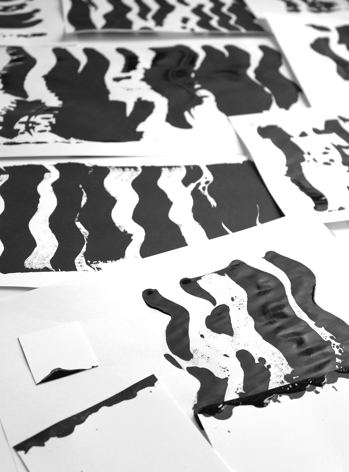 Black and white abstract pattern on a paper