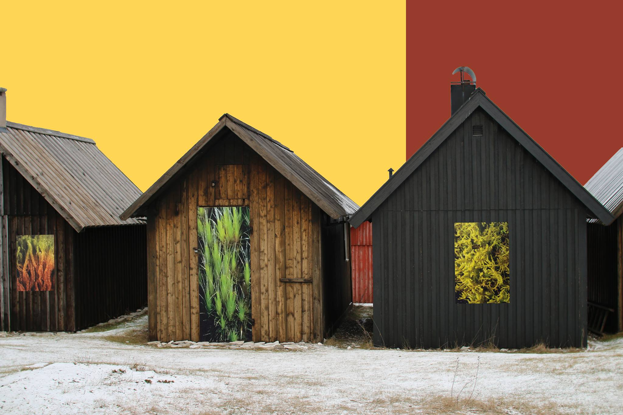Three wooden old houses on a colourful background