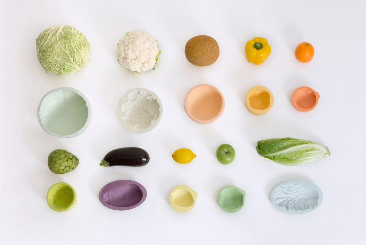 4 rows of vegetables and their ceramic forms