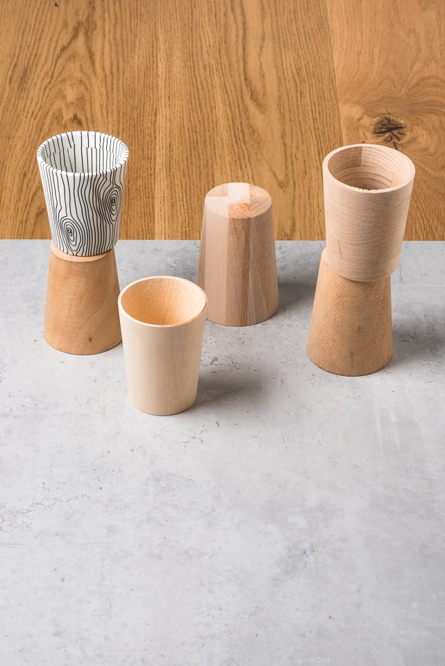 Wooden cups on the table