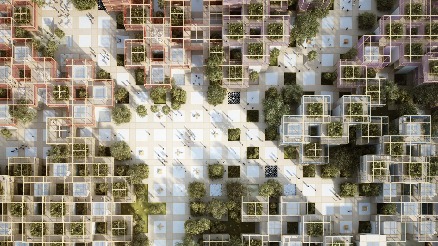 An overview of a grid pavilion with trees