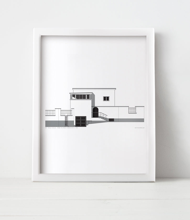 Black and white house illustration in a frame