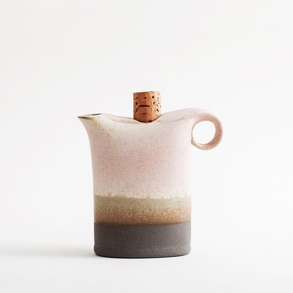 Ceramic milk and oil can with a cork cap