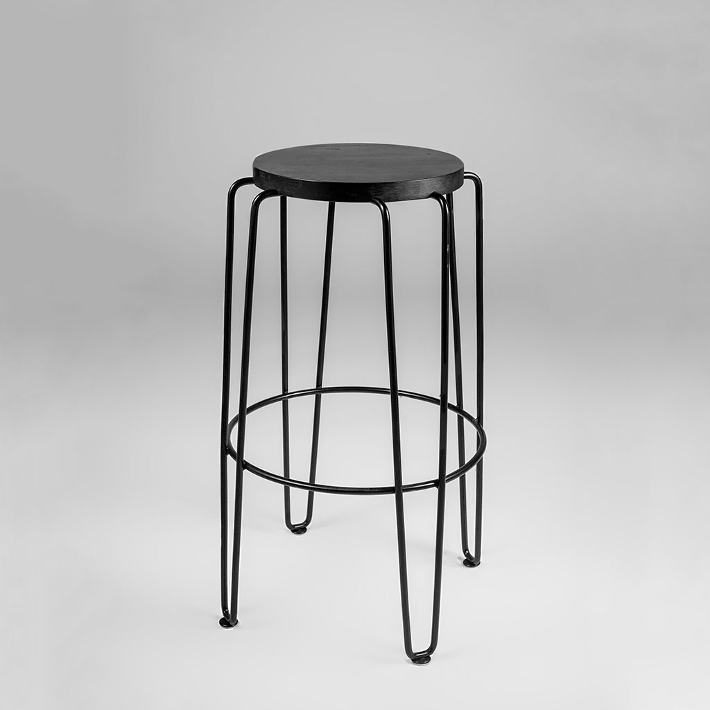Handmade stool with wooden top and metal legs