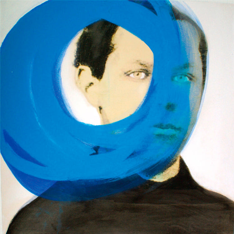 A portrait of a man and blue circle