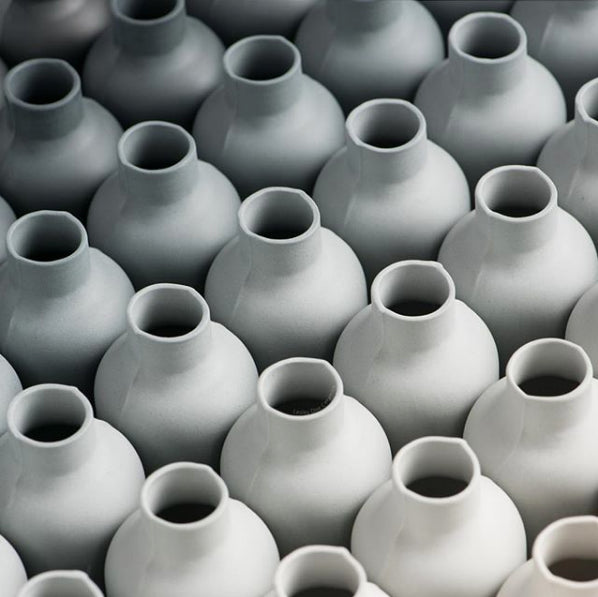 Grey porcelain bottles