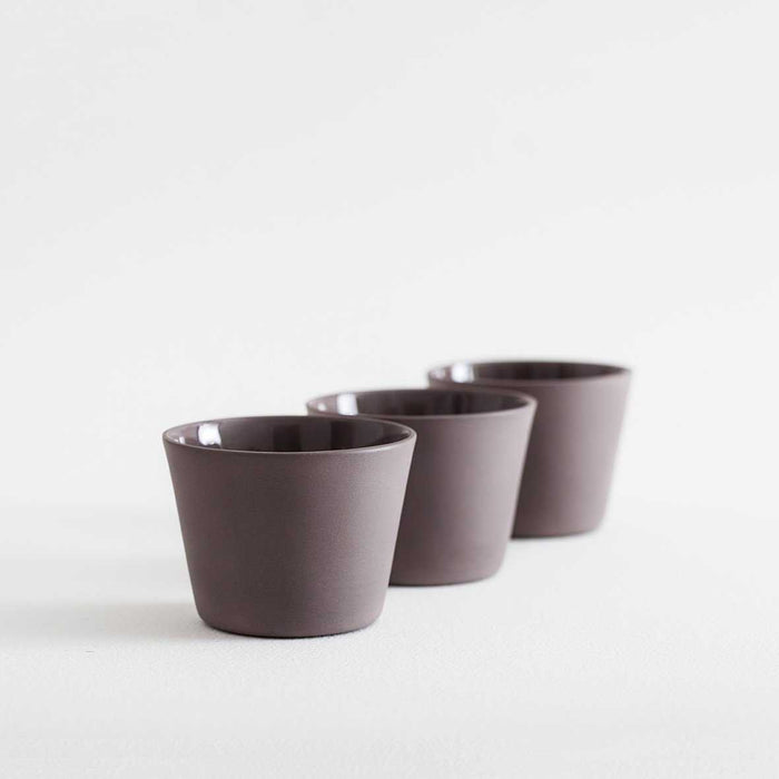 3 Espresso Cups - Brown by Nüüd Ceramics