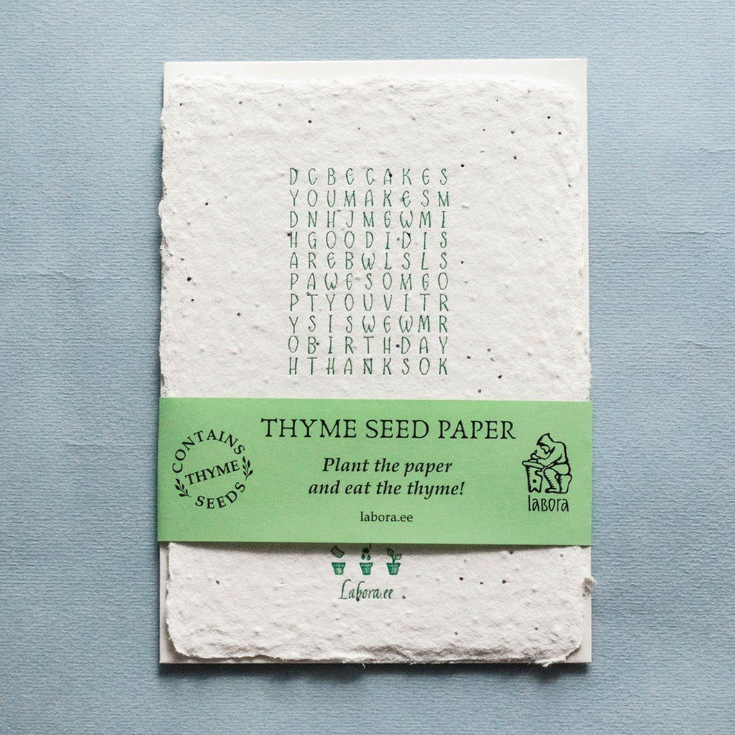 Thyme Seed Card Crossword by Labora