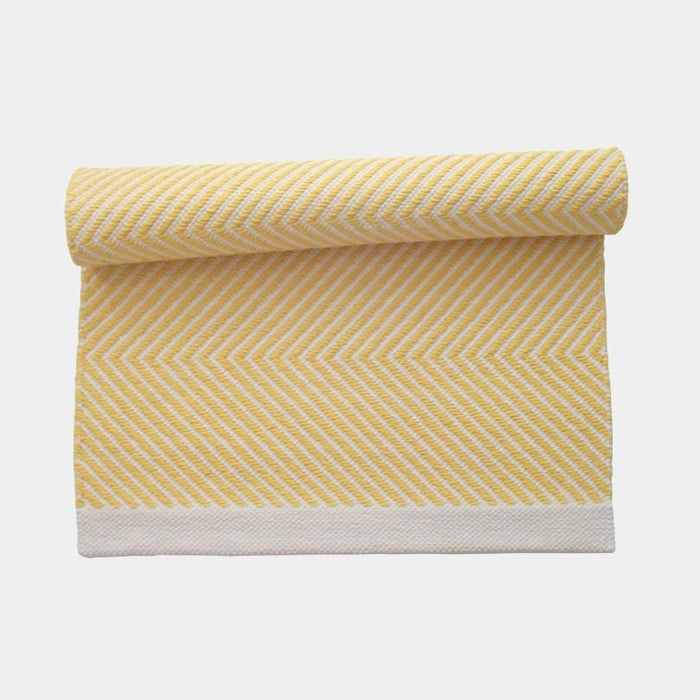 Zikzak Yellow Cotton Rug by Leeda Ots