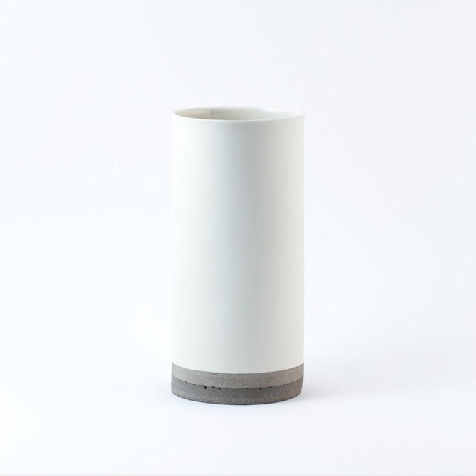 Porcelain & Concrete Vase - White by Nüüd Ceramics