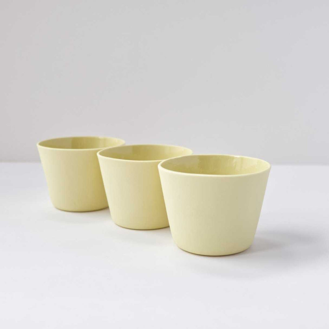 3 Espresso Cups - Yellow by Nüüd Ceramics