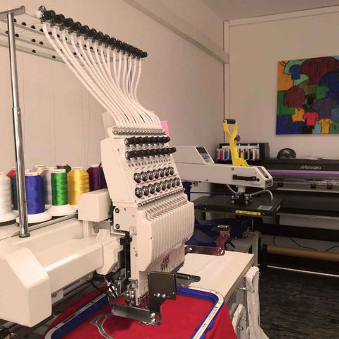 This is where some of our face masks are produced - our designs are printed onto special fabric which is then transported to a local tailor shop.