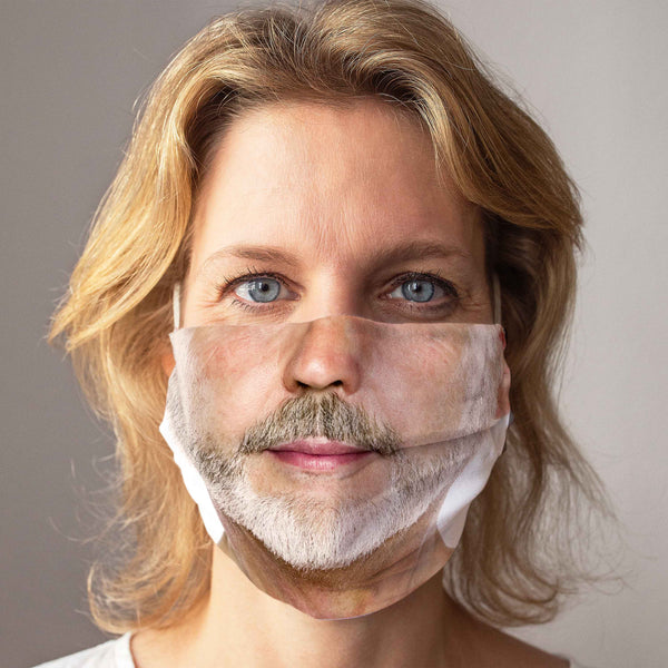 Cloth Face Mask: Light Beard