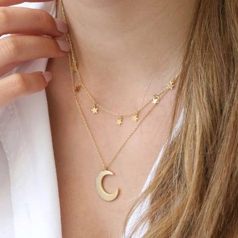 Double Layer Stars And Moon Necklace - Luminous Soul LLC