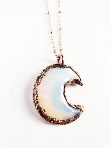 Opalite Crescent Moon Necklace - Luminous Soul LLC
