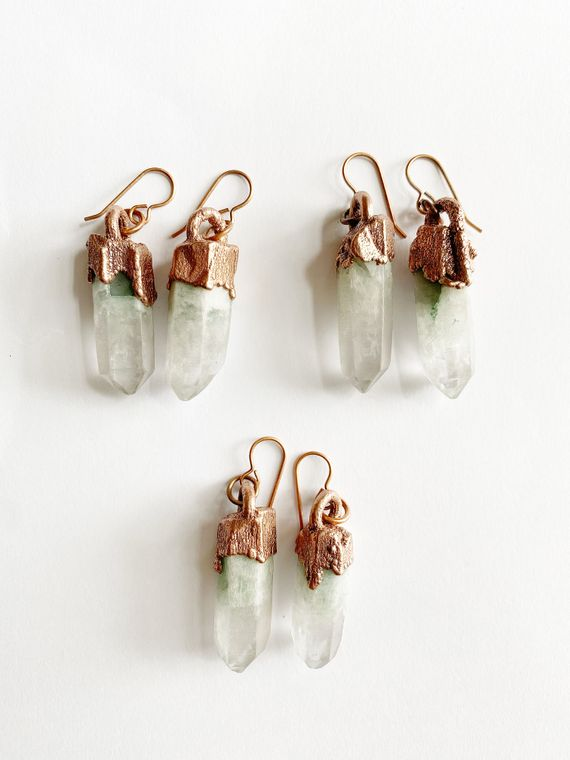 Fuchsite in Quartz Drop Earrings - Luminous Soul LLC