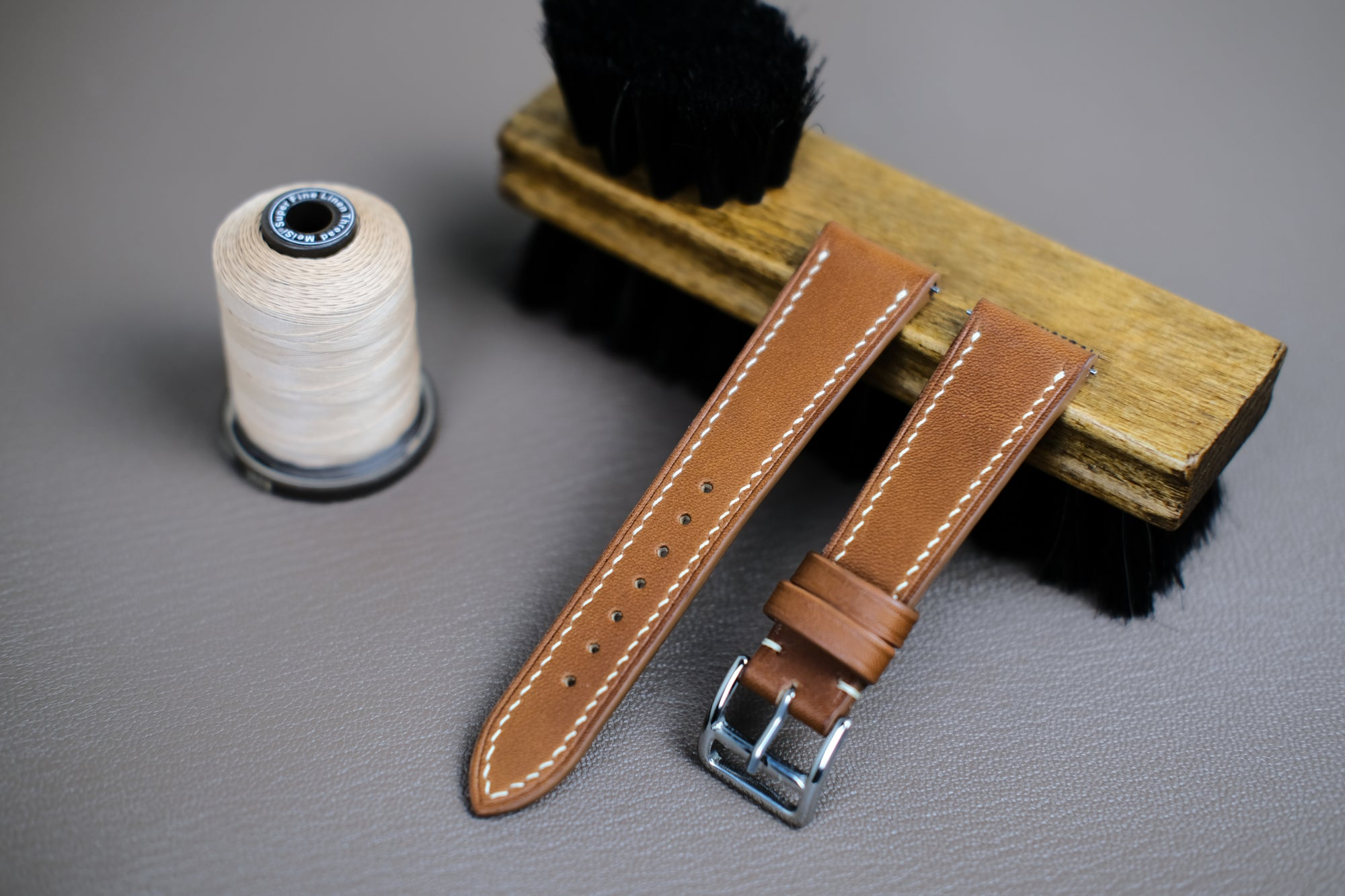 Barenia French Calf Leather Strap in Gold/Tan - Artisan Straps