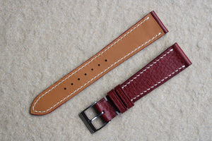 Italian Calf (Minerva Box) Leather Strap in Burgundy - Artisan Straps
