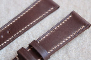 Shell Cordovan Leather Strap in Dark Brown - Artisan Straps