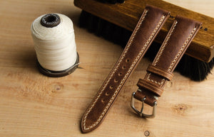 Horween Dublin Padded Calf Leather Strap in Natural - Artisan Straps