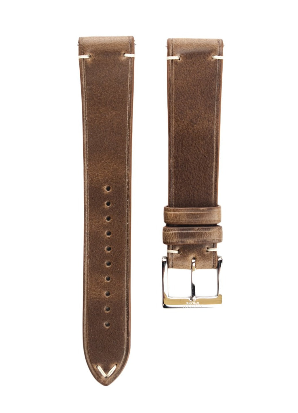 Horween Chromexcel Two-Stitch Calf Leather Watch Strap in Natural