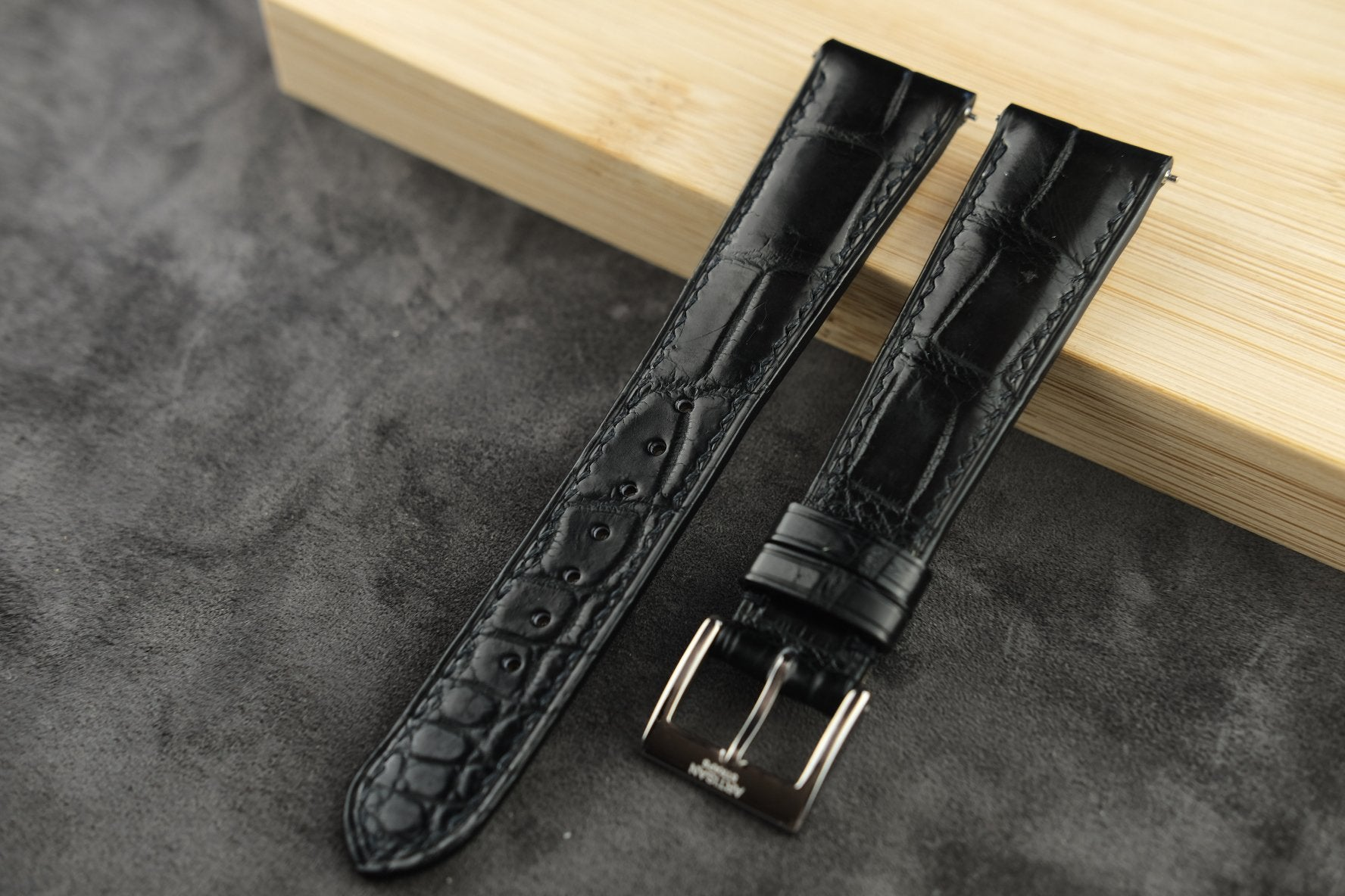 Black Crocodile Padded Leather Strap - Artisan Straps