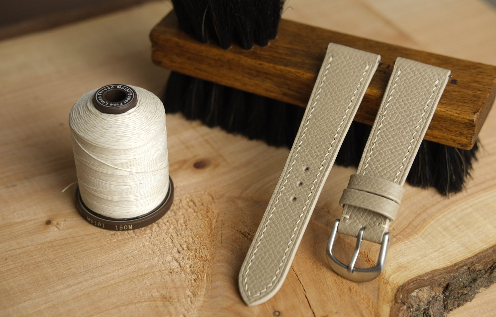 Epsom French Calf Leather Strap in Cream - Artisan Straps