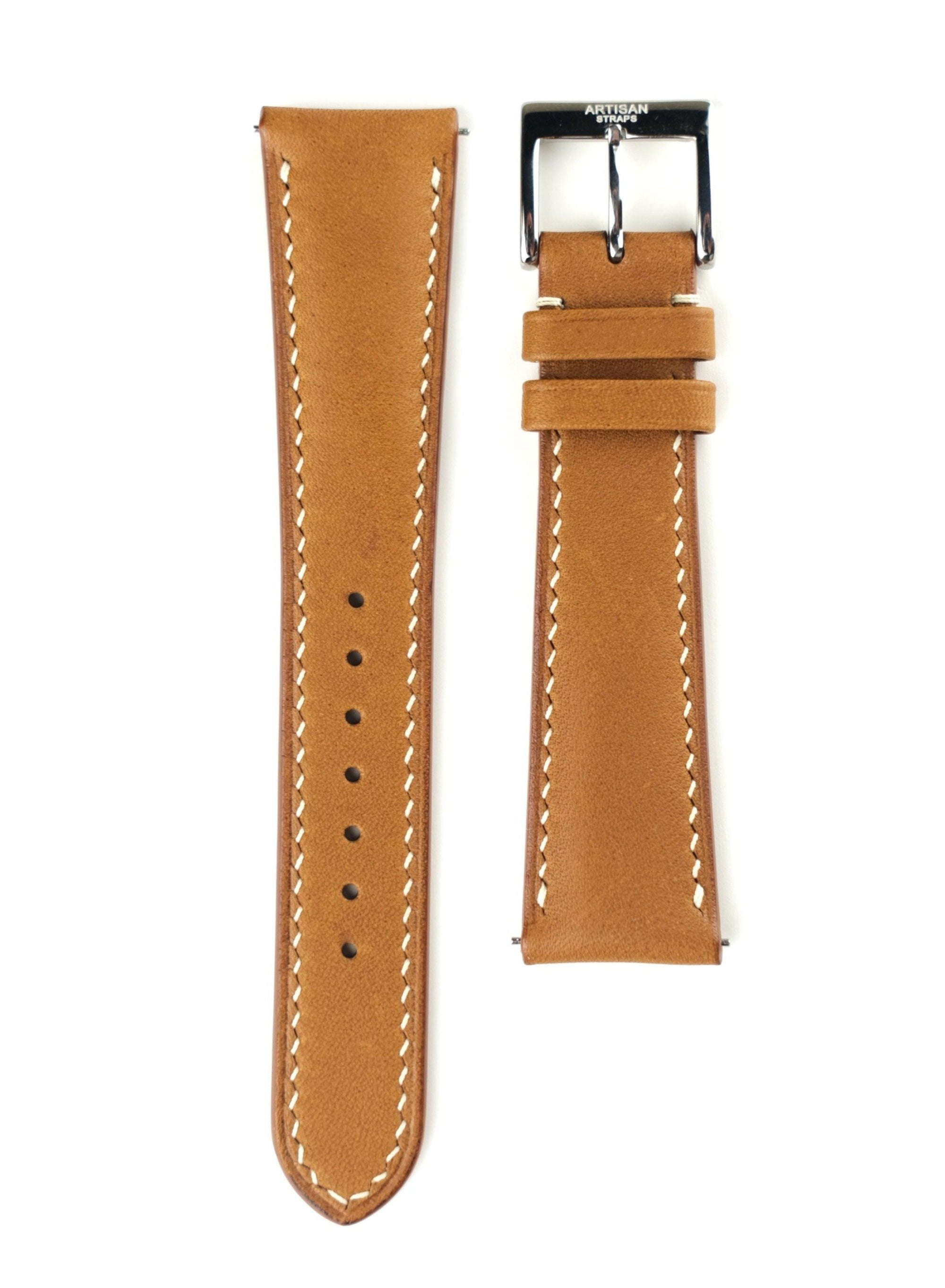 Tan Barenia Padded French Calf Leather Strap - Artisan Straps