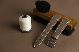 Epsom French Calf Leather Strap in Taupe - Artisan Straps
