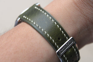 Italian Waxy Calf Leather Strap in Olive - Artisan Straps