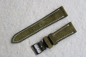 Suede Leather Strap in Olive - Artisan Straps