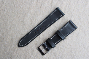 Buttero Italian Calf Strap in Black Wax - Artisan Straps