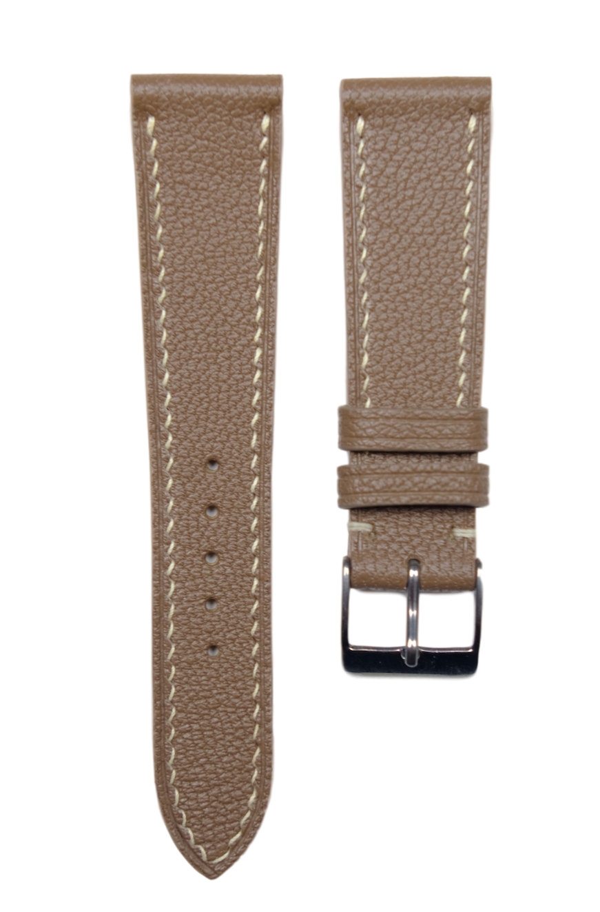 Chevre (French Goat) Leather Strap in Dark Taupe - Artisan Straps