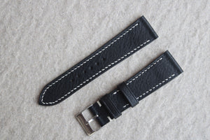 Italian Calf (Minerva Box) Leather Strap in Black - Artisan Straps