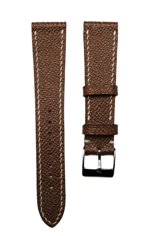 Epsom French Calf Leather Strap in Brown - Artisan Straps