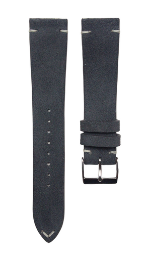 Suede Two-Stitch Leather Strap in Deep Grey - Artisan Straps