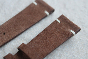 Suede Two-Stitch Leather Strap in Tobacco Brown - Artisan Straps