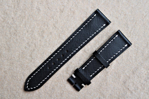 Saffiano French Calf Leather Strap in Black - Artisan Straps