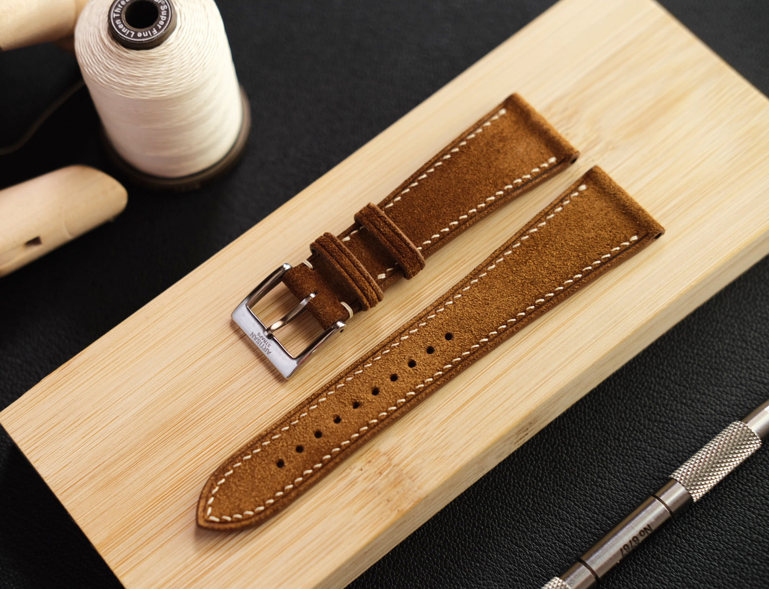 Suede Leather Strap in Whiskey - Artisan Straps
