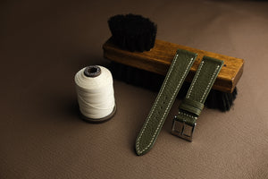 Negonda Shrunken Calf Leather Strap in Olive Green - Artisan Straps