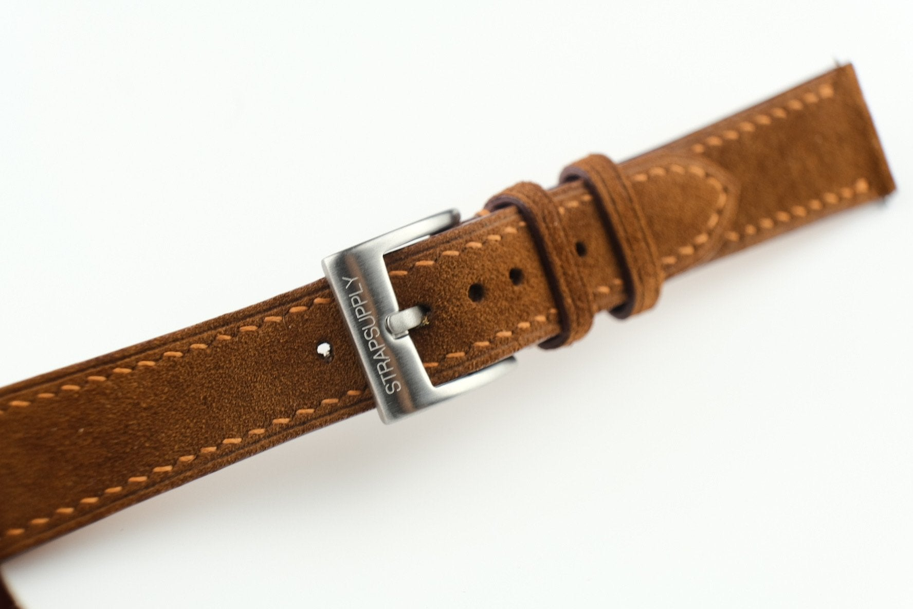 Brown Full Stitch Suede Strap - Artisan Straps