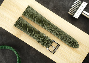 Ostrich Leg Leather Strap in Olive Green - Artisan Straps