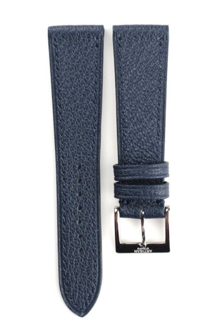 French Goat (Chèvre) Leather Strap in Navy - Artisan Straps