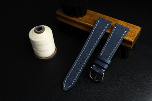 Saffiano French Calf Leather Strap in Blue - Artisan Straps