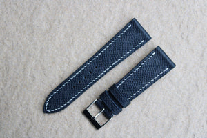 Epsom French Calf Leather Strap in Navy - Artisan Straps