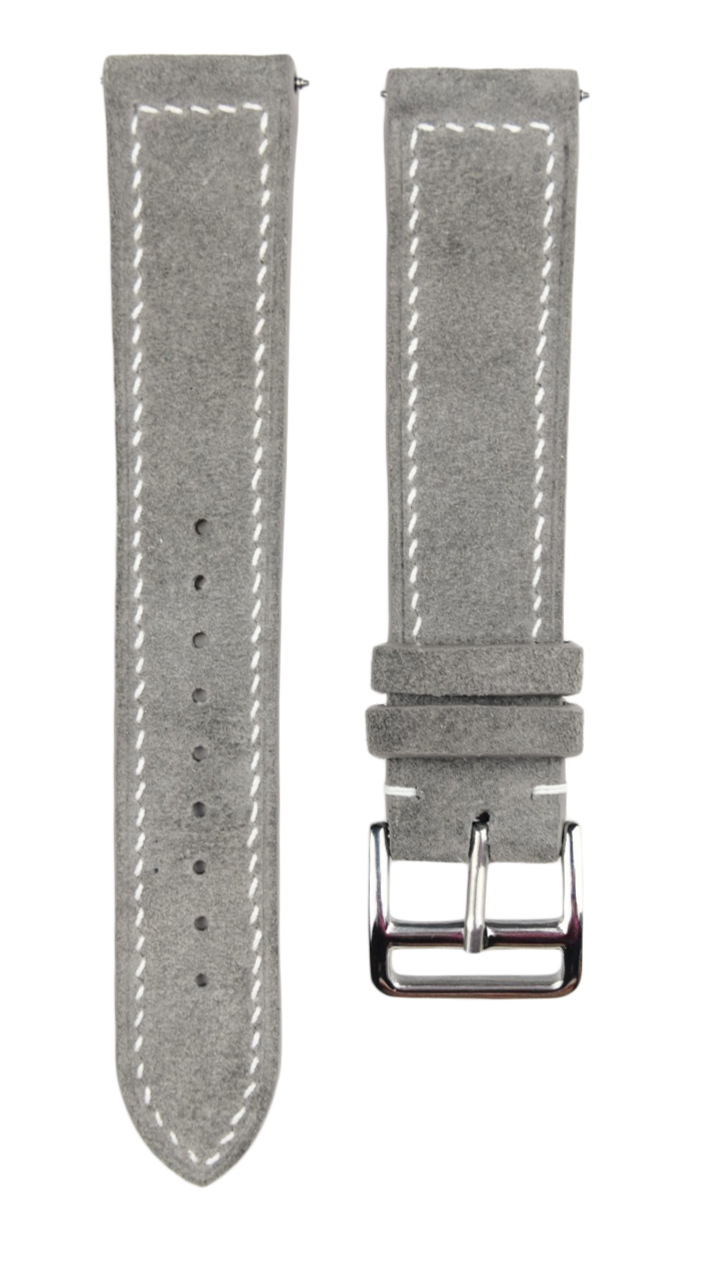 Suede Leather Strap in Light Grey - Artisan Straps