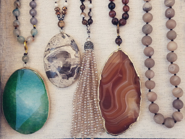 Earthy Jewelry For Modern Goddesses-Knotted semiprecious stone necklaces