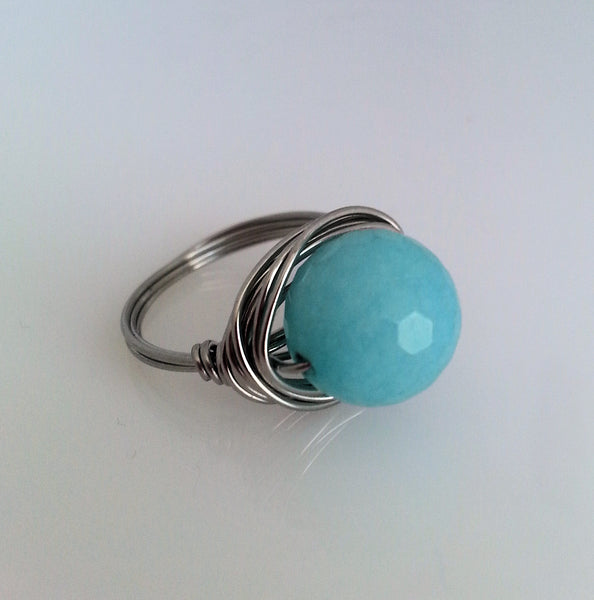 Amazonite and stainless steel wire wrapped ring.
