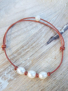 Fresh Water Pearl Leather Anklets or Bracelets - Summer Indigo