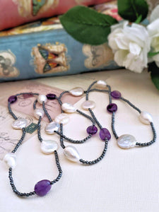 Hematite Necklace with Amethyst and Pearls - Summer Indigo